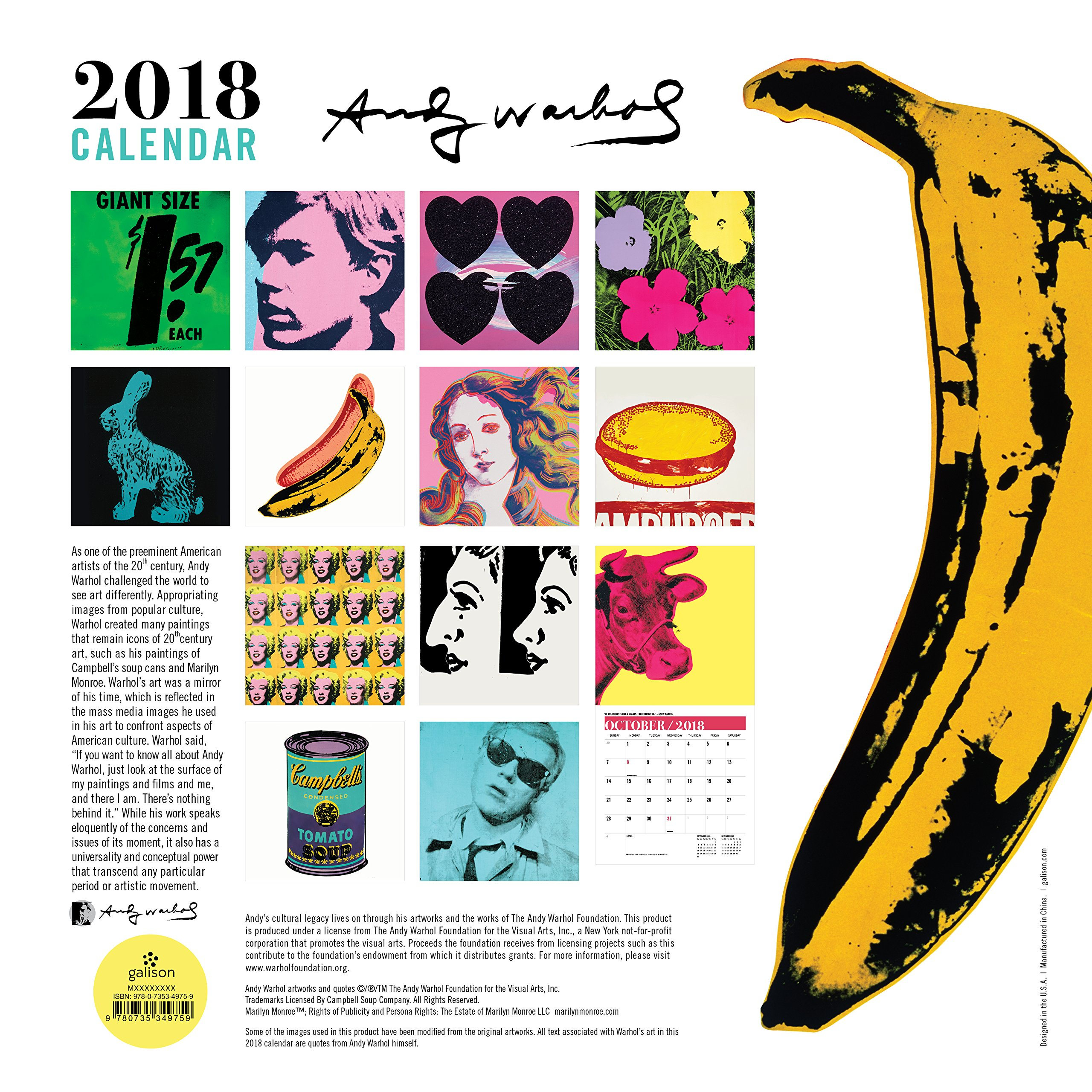 Andy Warhol 2018 Calendar Surprise Inside Calendars 2018 Amazon