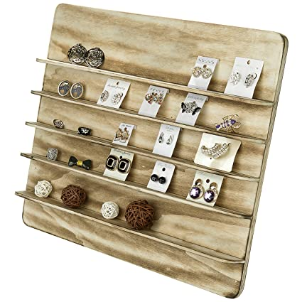 MyGift Torched Wood 40 Tier Retail Jewelry Showcase Rack Countertop Amazing Small Wooden Display Stands