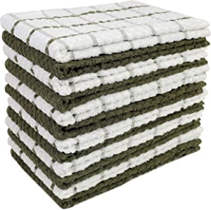 HomeLabels Kitchen Towels (12 Pack, 15 x 25 Inch) Cotton - Machine Washable - Extra Soft Set of 12 Sage and White Dobby Weave Dish Towels, Tea Towels-BarTowels-Absorbent-3Design-Dishcloth