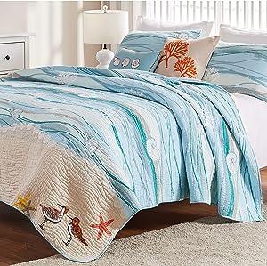 Greenland Home Fashions Maui Bonus Cotton Quilt Set Queen 5 Piece