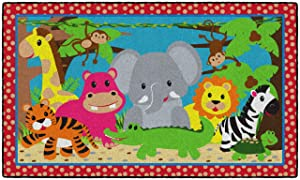 Flagship Carpets Cutie Jungle Kids and Baby Non Slip Area Rug for Home or Classroom Play Room Mat, 3'x5', Rectangle