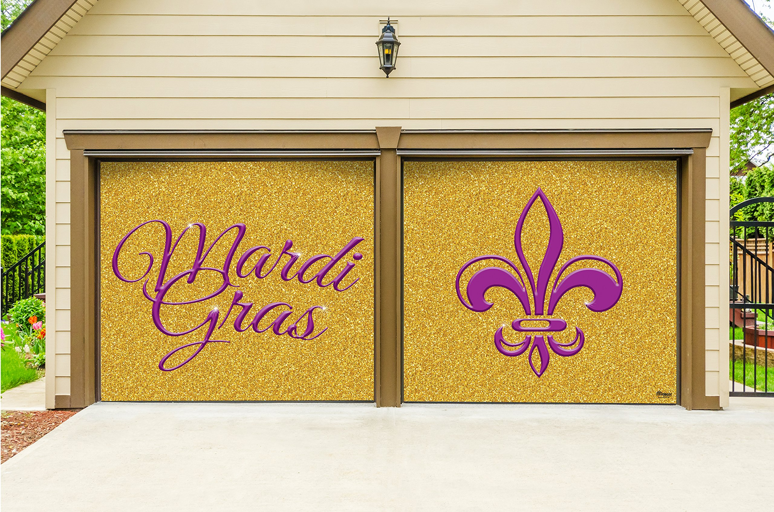 Outdoor Mardi Gras Decorations 2 Car Split Garage Door Banner Cover Mural - Mardi Gras Gold Glitter, Two 7'x 8' Graphic Kits - ''The Original Mardi Gras Supplies Garage Door Banner Decor''