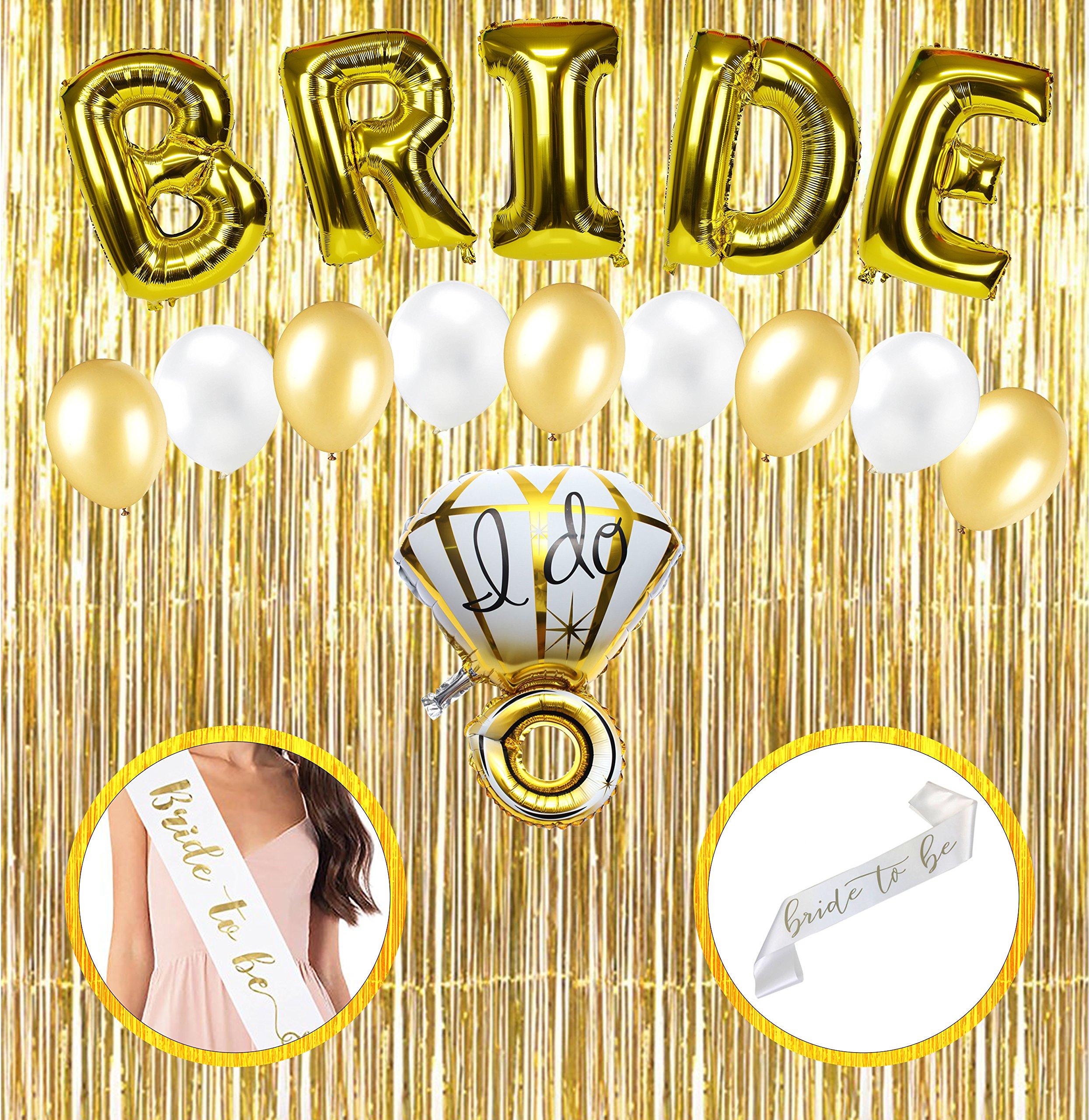 bachelorette party decorations bridal shower kit includes gold foil diamond ring and bride foil balloons