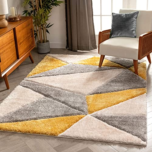Well Woven Walker Yellow Triangle Boxes Thick Soft Plush 3D Textured Shag Area Rug 8×10 7 10 x 9 10