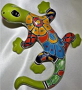 Talavera Ceramics Gecko Wall Décor - 8.0 in - Lime Green Gecko Multicolor - Mexican Handmade - Individually Unique - Gecko Climbing Décor - Geiko Lizard - Lizard Home Décor