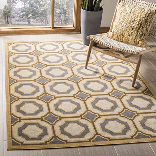 Safavieh Hampton Collection HAM509AD Dark Grey and Ivory Indoor Outdoor Area Rug 8 x 11