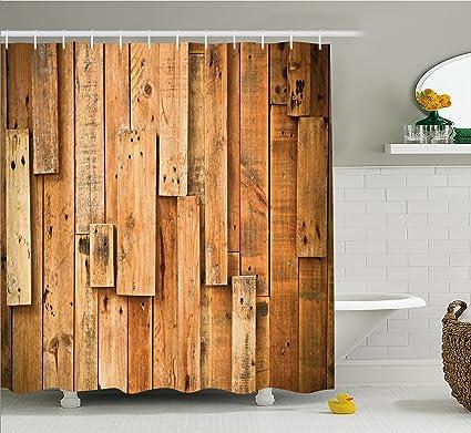 Amazoncom Ambesonne Wooden Shower Curtain Lodge Style Hardwood - Lodge style bathroom