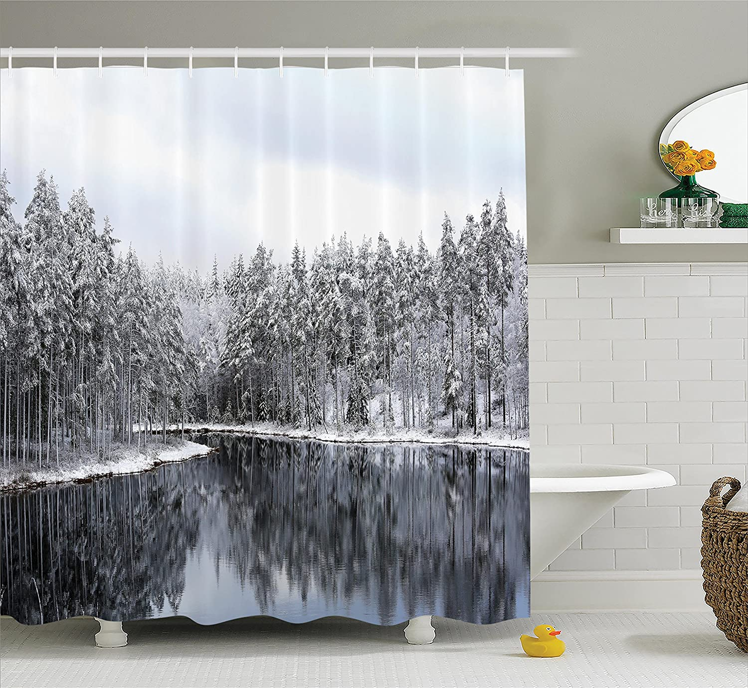 Amazon Woodland Decor Shower Curtain Set By Ambesonne Lake Surrounded Snow Covered Trees On A Cold Winter Day In Finland Reflections