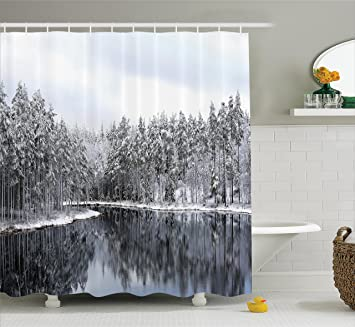 Woodland Decor Shower Curtain Set By Ambesonne, Lake Surrounded By Snow  Covered Trees On A