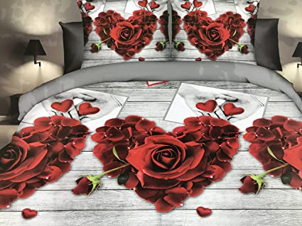 Lenzuola Matrimoniali Con Rose Rosse.Goldenhome Set Lenzuola Matrimoniale 4 Pezzi In Microfibra Stampa 3d Modello Rose Rosse