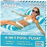 Aqua 4-in-1 Monterey Hammock Inflatable Pool Float, Multi-Purpose Pool Hammock (Saddle, Lounge Chair, Hammock, Drifter…