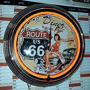 Neonuhr Neon Clock Pinup Route 66 Diner Wanduhr Beleuchtet Neon