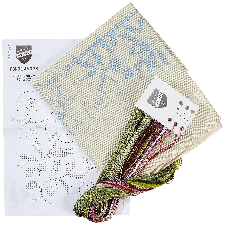 Baumwolle Mehrfarbig Vervaco Olivenzweige Stickpackung//Tischdecke im vorgedruckten//vorgezeichneten Kreuzstich 80 x 80 x 0.3 cm