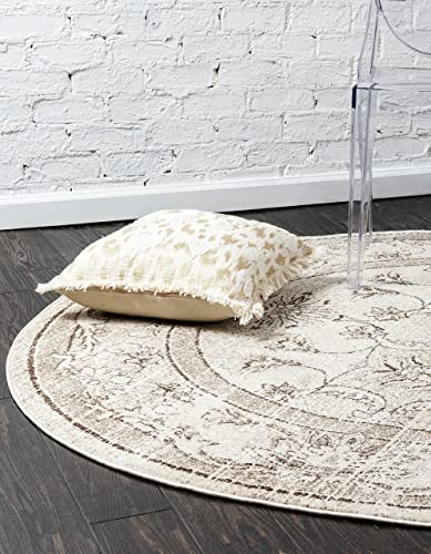 Unique Loom La Jolla Collection Tone-on-Tone Traditional Ivory Round Rug 8 0 x 8 0