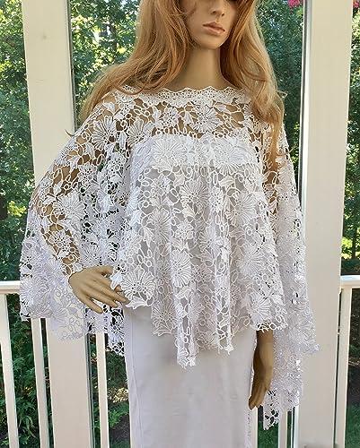Wrap Shawl Crochet Wedding Bridal White Ivory
