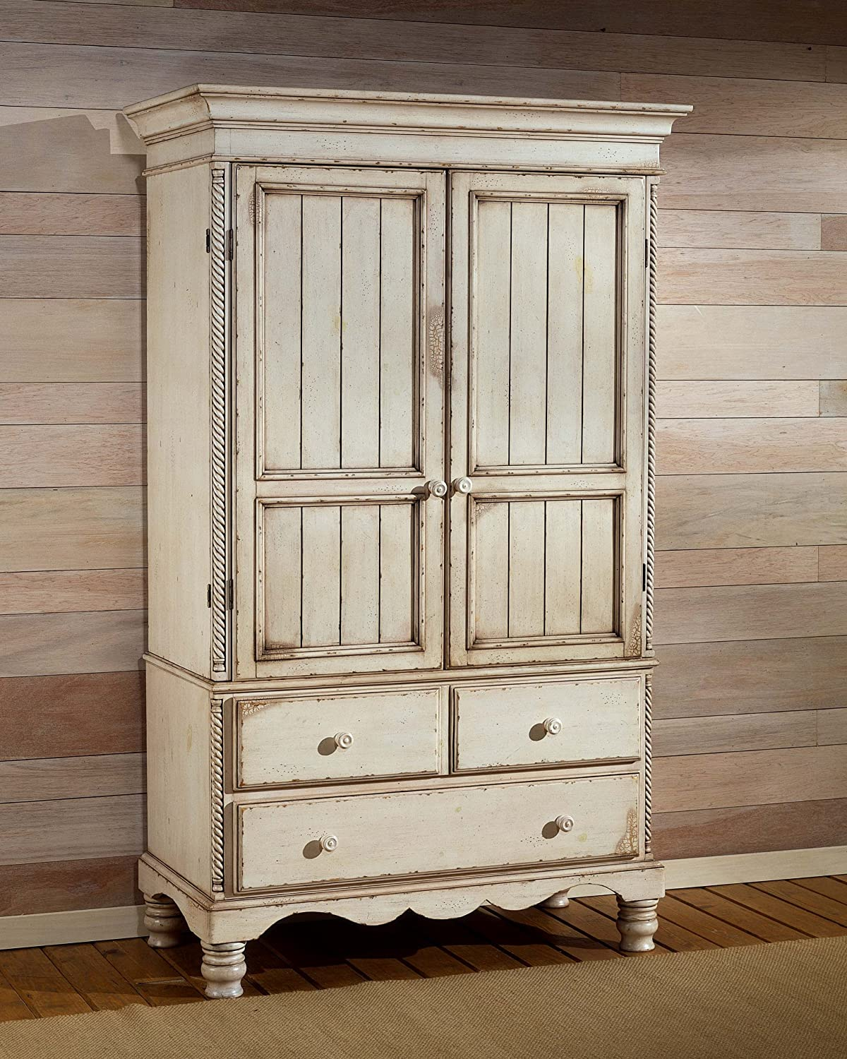 Amazon.com: Hillsdale Wilshire Distressed Wardrobe Armoire In Antique  White: Kitchen U0026 Dining