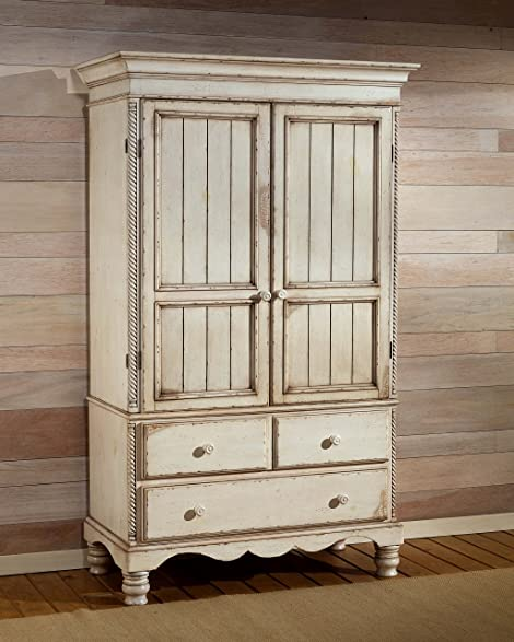 Wilshire Traditional Armoire w Drawers & Antique White Finish - Amazon.com: Wilshire Traditional Armoire W Drawers & Antique White