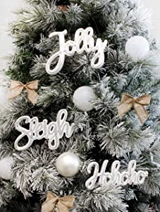 """AuldHome Large Farmhouse Christmas Word Art Ornaments in Galvanized Rustic Tin Script with """"Jolly"""", """"Sleigh"""" and """"Hohoho"""" (Set of 3 7-Inch Signs)"""