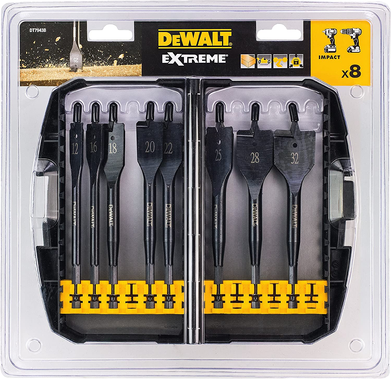 Dewalt DT7943B-QZ 8 Pièce Extreme Flat Wood Drill Bit Set In Case