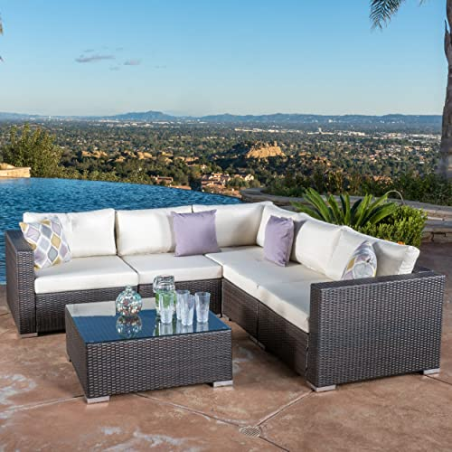 Christopher Knight Home 296441 Francisco Outdoor 6-Piece Brown Wicker Seating Sectional Sofa Set with Cushions, Beige