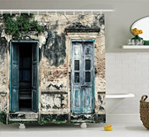 Ambesonne Rustic Decor Shower Curtain by, Doors of An Old Rock House with French Frame Details in Countryside European Past Theme, Fabric Bathroom Set with Hooks, 75 Inches Long, Teal and Grey