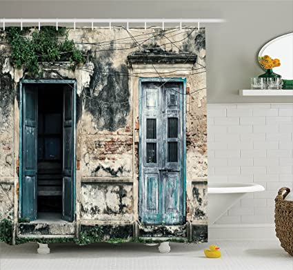 Ambesonne Rustic Decor Shower Curtain Doors of An Old Rock House with French Frame Details & Amazon.com: Ambesonne Rustic Decor Shower Curtain Doors of An Old ...