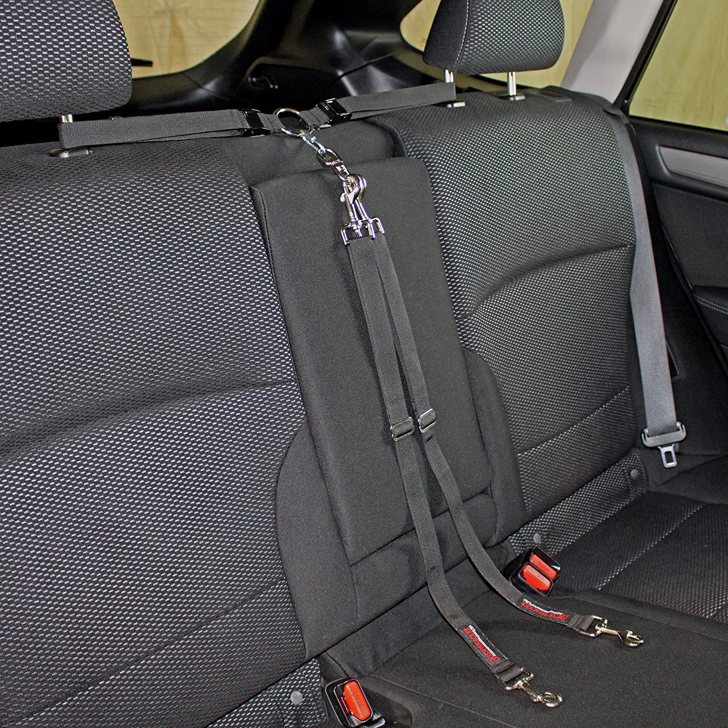 Paws n Claws Two Dog Tangle Free Tether Vehicle Adjustable Restraint K9 Backseat Leash Truck Seat Belt Split Double Lead Car Harness Pet Barrier SUV Carrier Extender Cover Tie Down 2 Bushwhacker