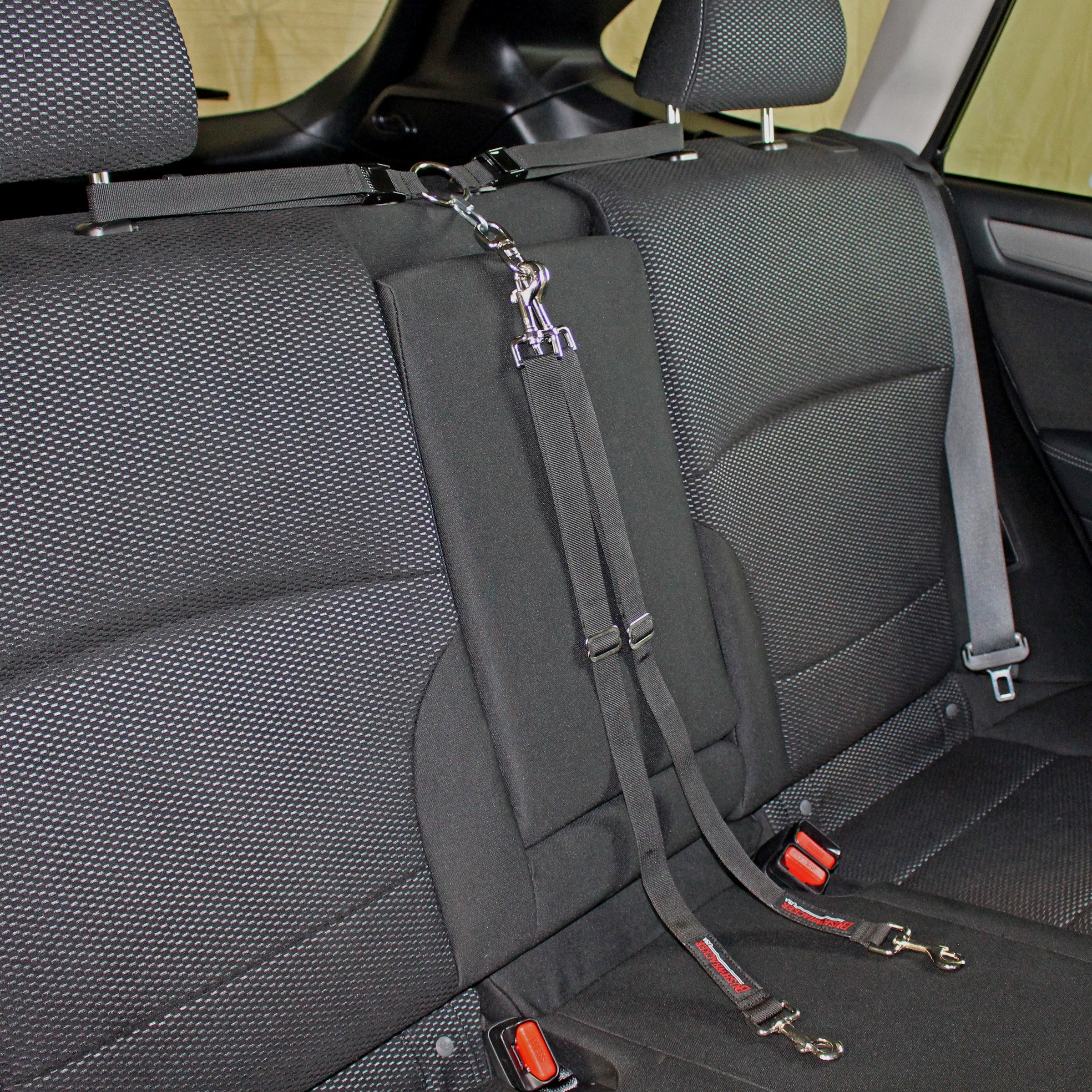 Bushwhacker - Paws n Claws Two Dog Tangle Free Tether Vehicle Adjustable Restraint K9 Backseat Leash Truck Seat Belt Split Double Lead Car Harness Pet Barrier SUV Carrier Extender Cover Tie Out Car 2