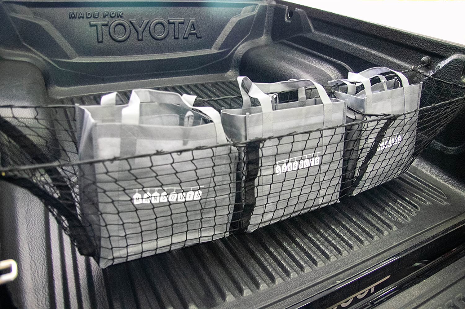 Trunk Boot Cargo Organizer With Spare Bungee Cord Extenders Includes 3 Reusable Grocery Bags Hang Outs H-90 3 Pocket Mesh Storage Net
