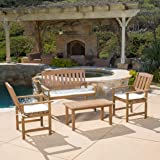 Shirley 4-Piece Outdoor Wood Chat Set with Cushions