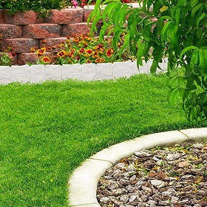 Relaxdays, Blanco Valla de jardín Decorativa, Set de 10 bordillos para césped, Estrecho, 10 cm, 10er Pack: Amazon.es: Jardín