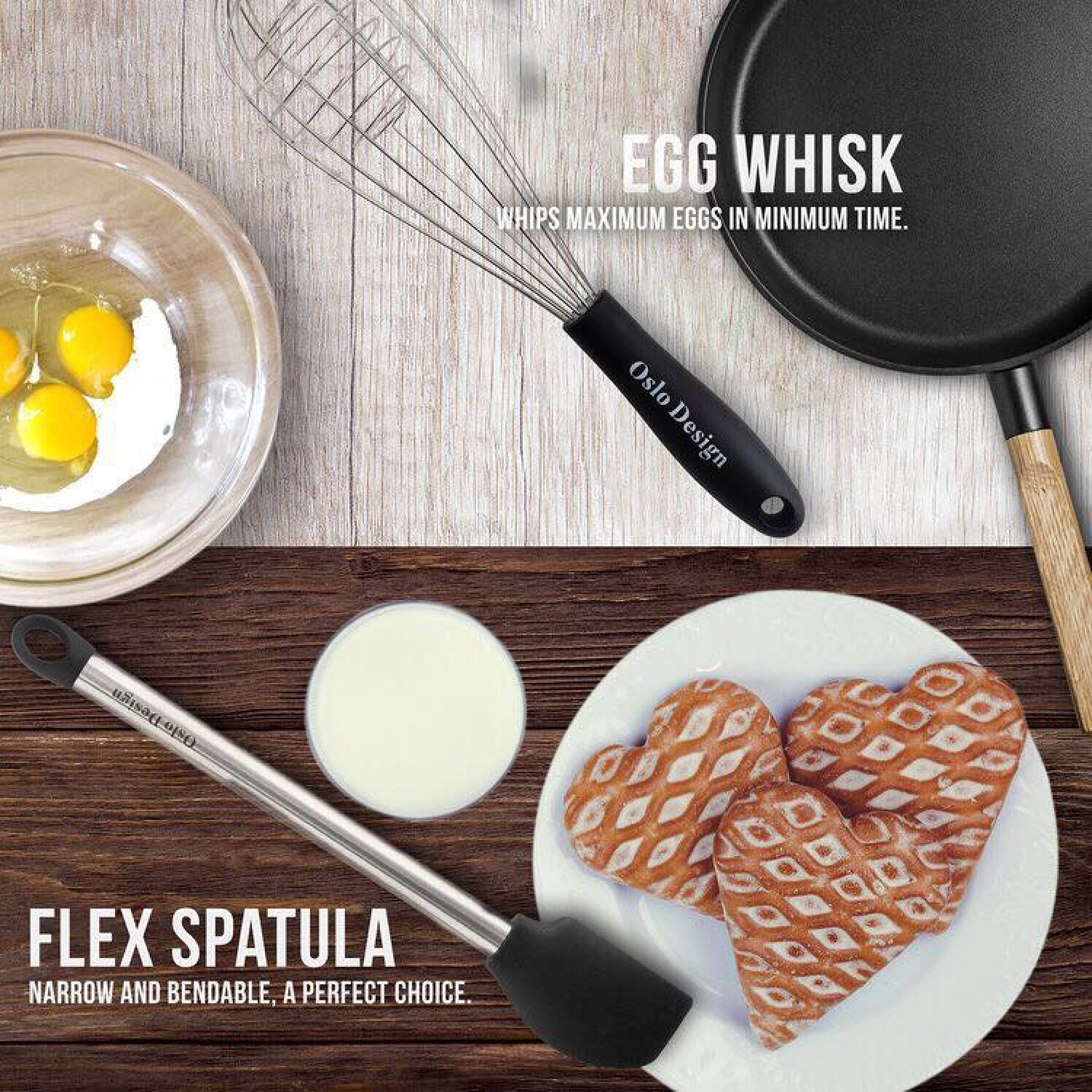 Kitchen Utensil set - 8 Piece Cooking Utensils for nonstick cookware -Made Of Silicone and Stainless Steel -Includes Spoon, Egg Whisk, Serving Tong, Spatula Tools, Pasta Server, Ladle, Strainer by Oslo Design (Image #3)