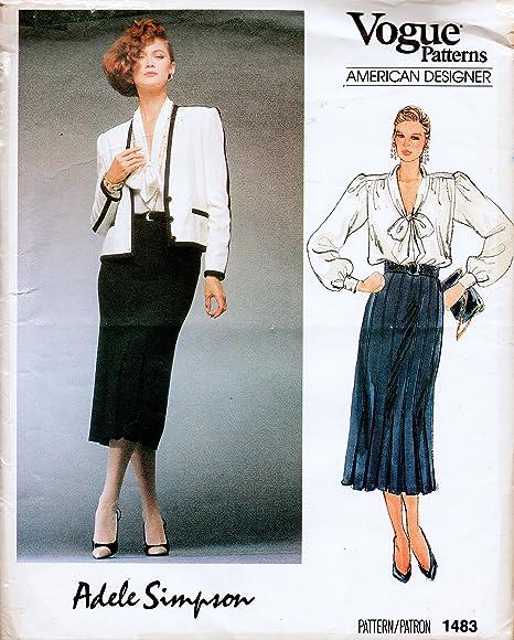Vogue 1483 American Designer Adele Simpson - Chaqueta, falda y ...