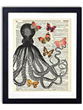Octopus With Butterflies Upcycled Vintage Dictionary Art Print 8x10
