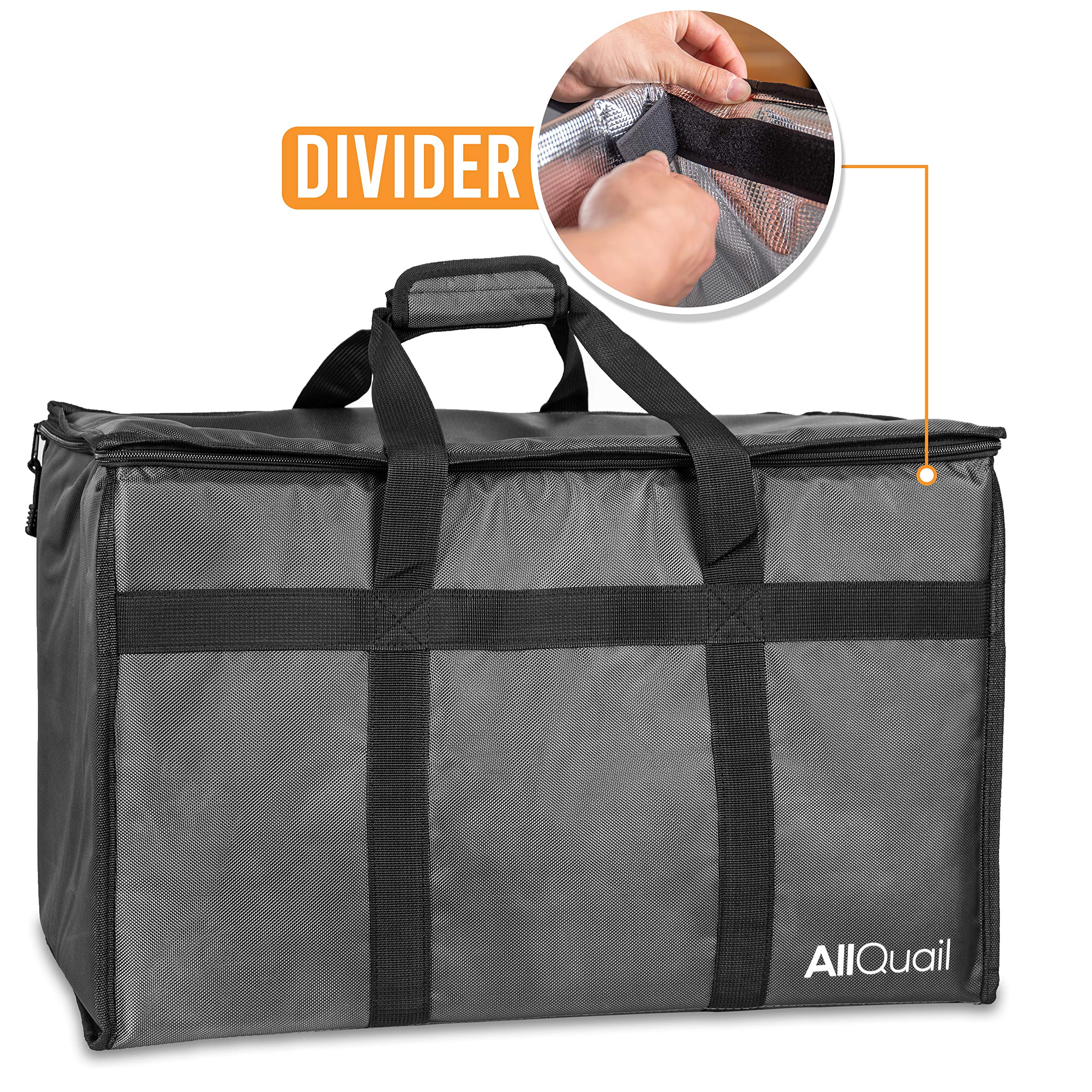 AllQuail Food Delivery Bag - With Divider, Durable Heavy Duty, For Groceries, Catering, Cooler Bag, Warmer, Insulated Delivery Bag, Thermal, For Travel, Uber Eats, Grubhub, Large Premium, Doordash by AllQuail