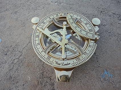 Nautical Solid Brass Working Sundial Compass West London Marine Decor Compass