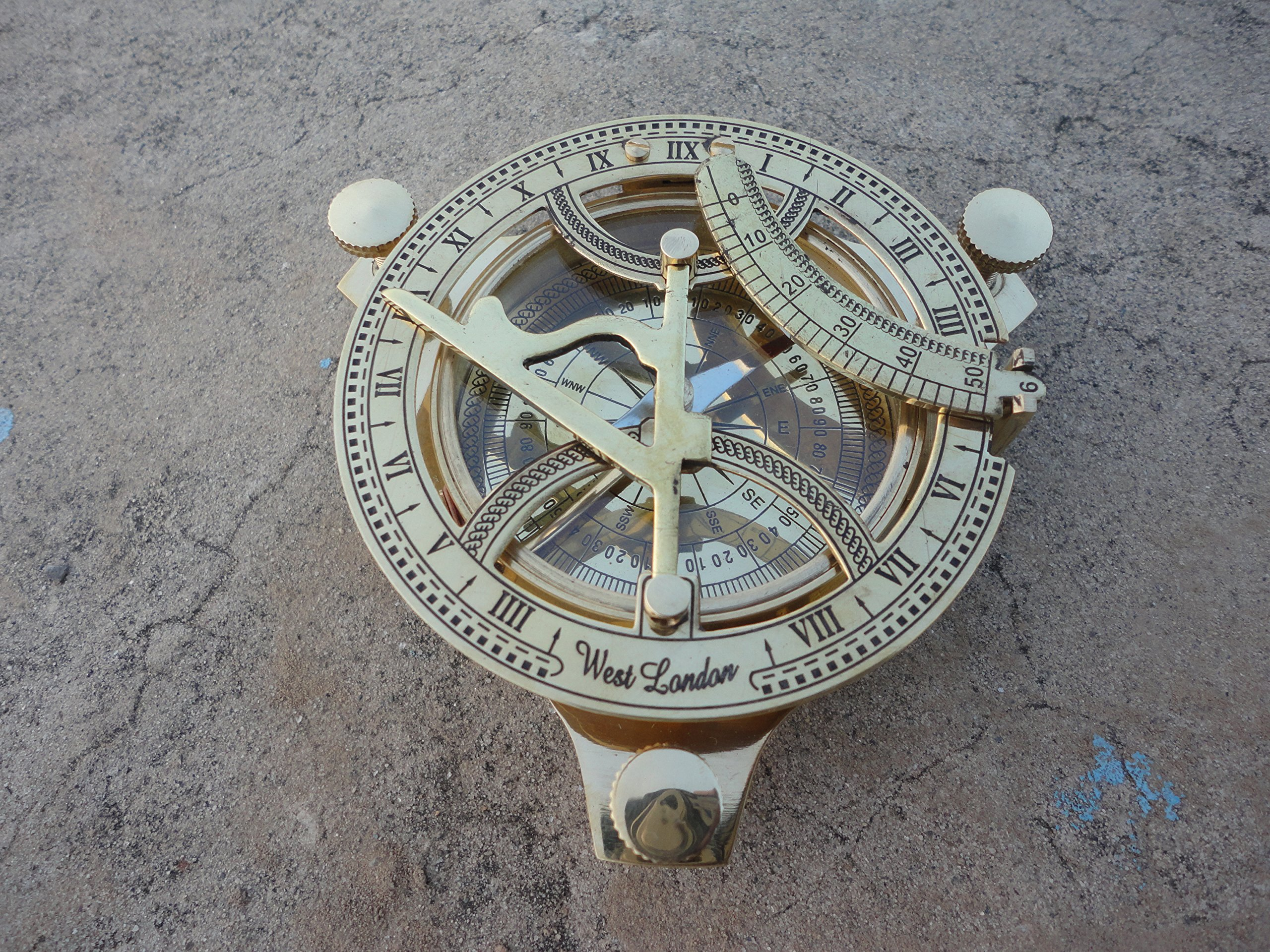 Sundial Compass Solid Brass by Era Collection Sundial Compass Decor|Sundial Compass Outdoor|4 Inch Sundial Compass|Sundial Compass Garden WEST LONDON Handmade Marine Nautical Antique Compass Navy Item