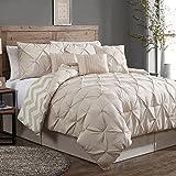 Geneva Home Fashion 7-Piece Ella Pinch Pleat Comforter Set, Queen, Taupe