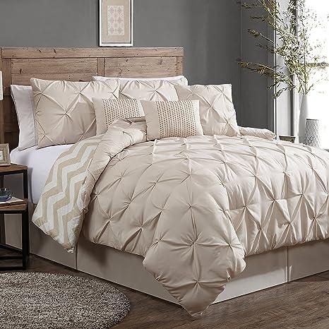 148938144b1 Geneva Home Fashion 7-Piece Ella Pinch Pleat Comforter Set