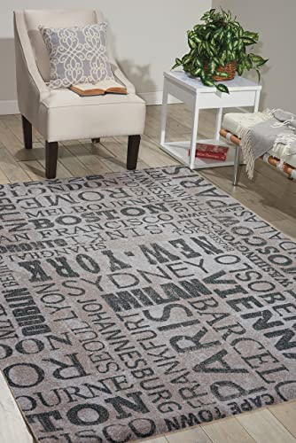 Nourison Wav01 Sun Shade Graphite Rectangle Area Rug