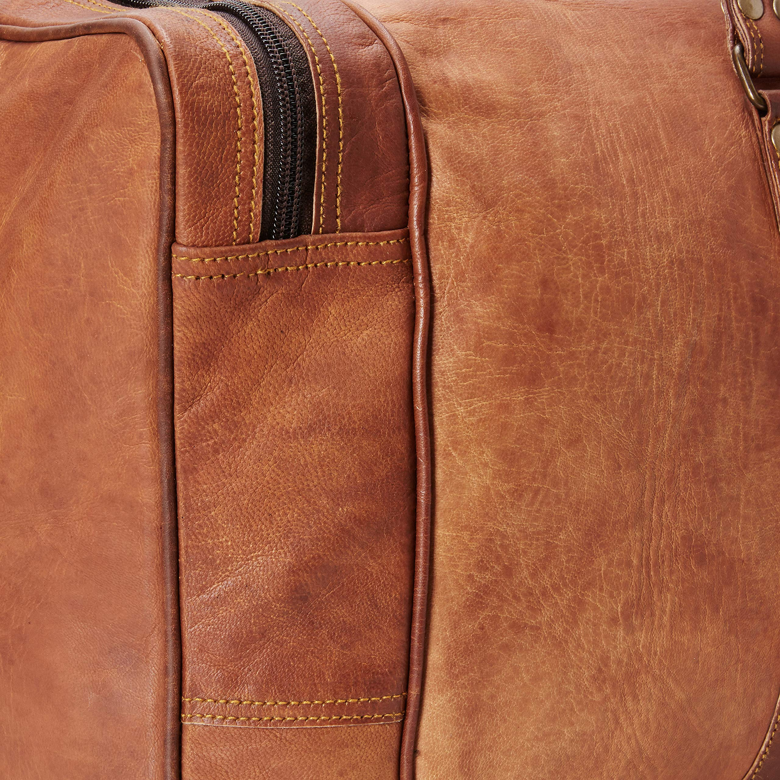 Leather 24 Inch Square Duffel Travel Gym Sports Overnight Weekend Leather Bag by Ruzioon (Image #4)