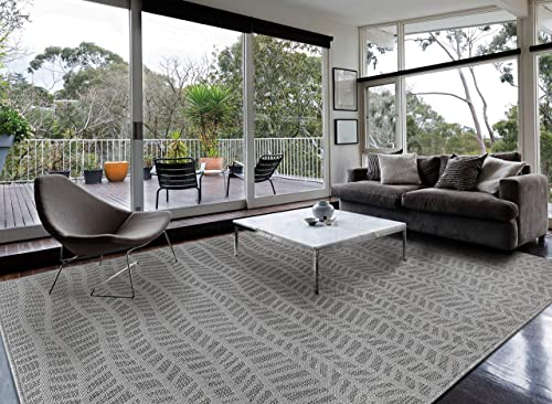 Indoor Outdoor geo Wave Rug 8 x10 , Silver Grey