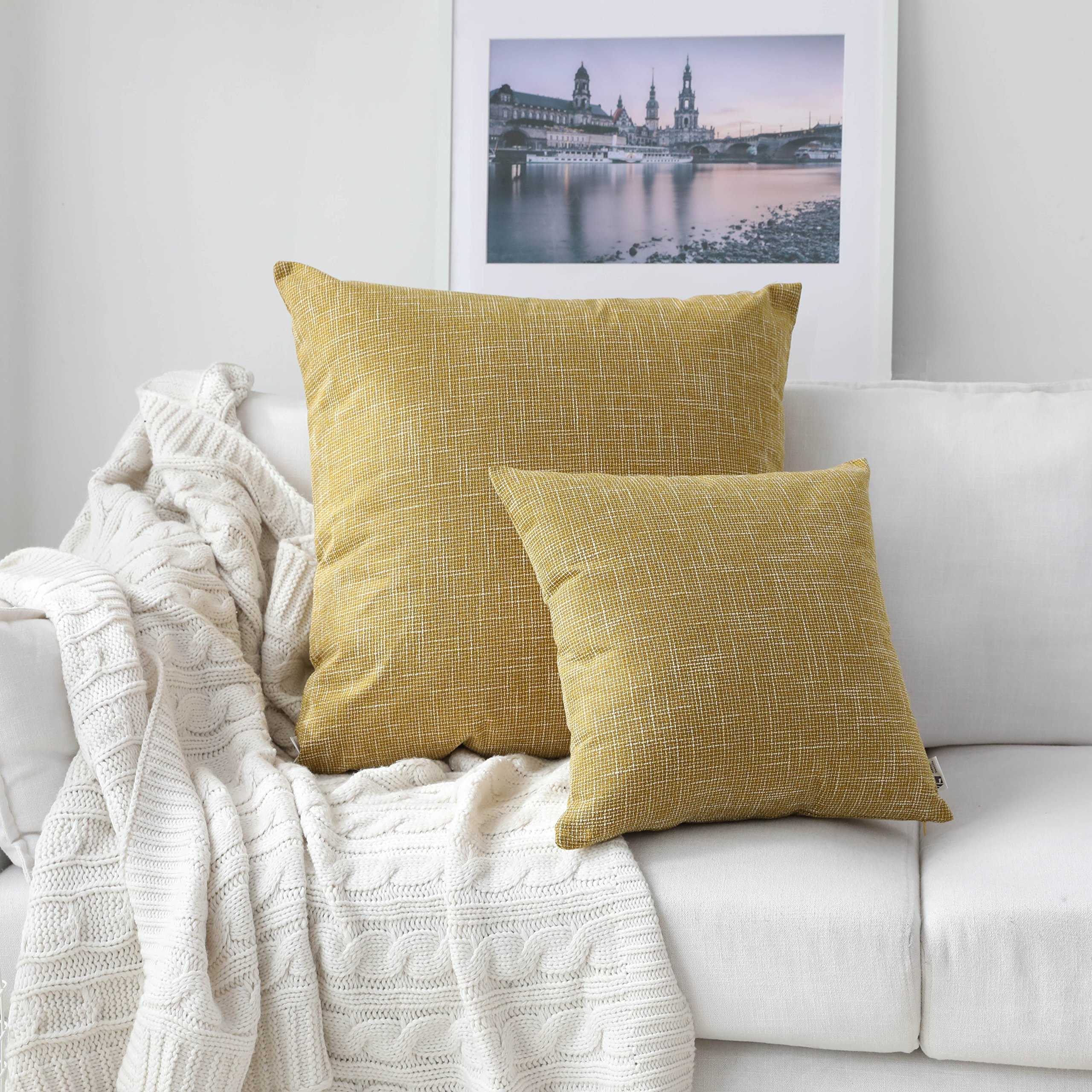 Kevin Textile Decorative Linen Pillowcases for Couch/Sofa/Bed/Car, Honey Yellow Striped Star Both Sides, 26x26-inch (66x66cm), 2 Pieces,Honey Yellow
