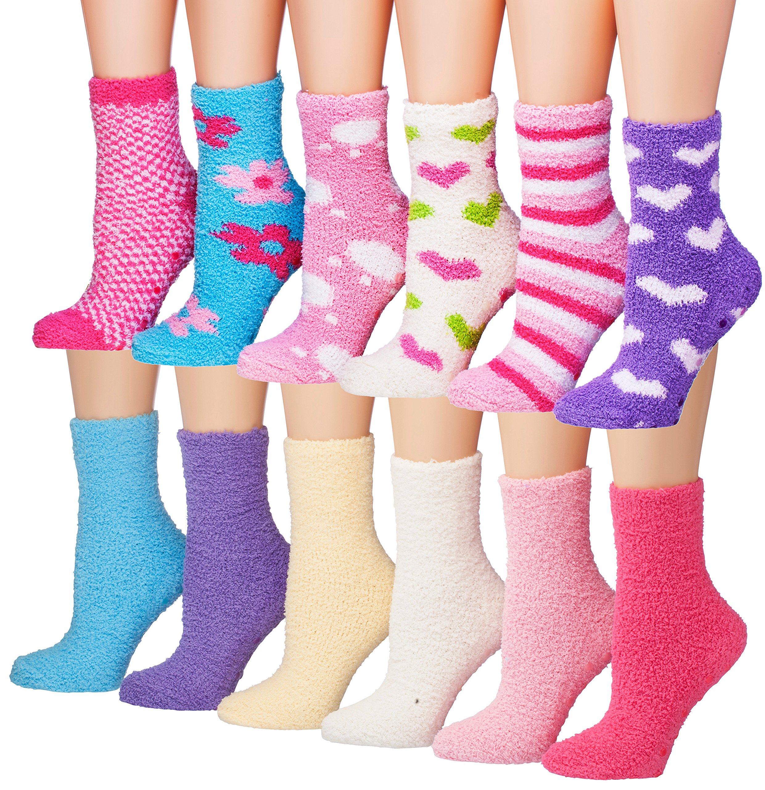 Tipi Toe Women's 12-Pairs Solid Color Hearts Soft Warm Microfiber Winter Fuzzy Crew Socks, (sock size 9-11) Fits shoe size 6-9, FZ04-05