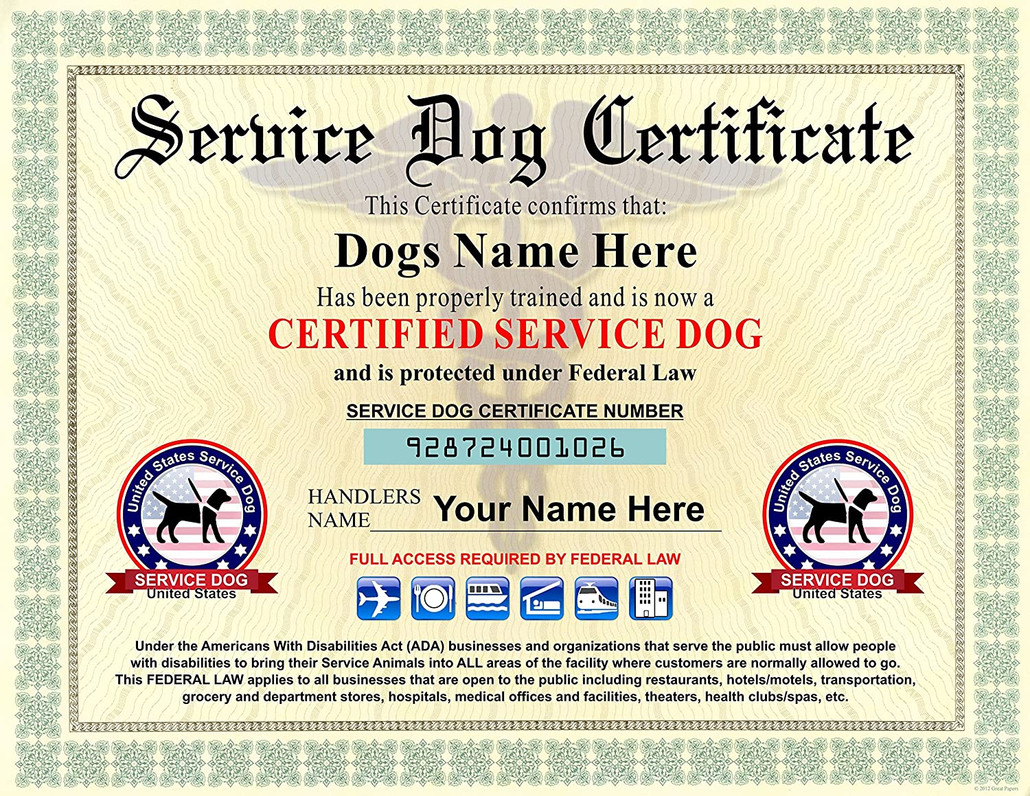 Amazon Service Dog Certificate We Customize It With Dogs And