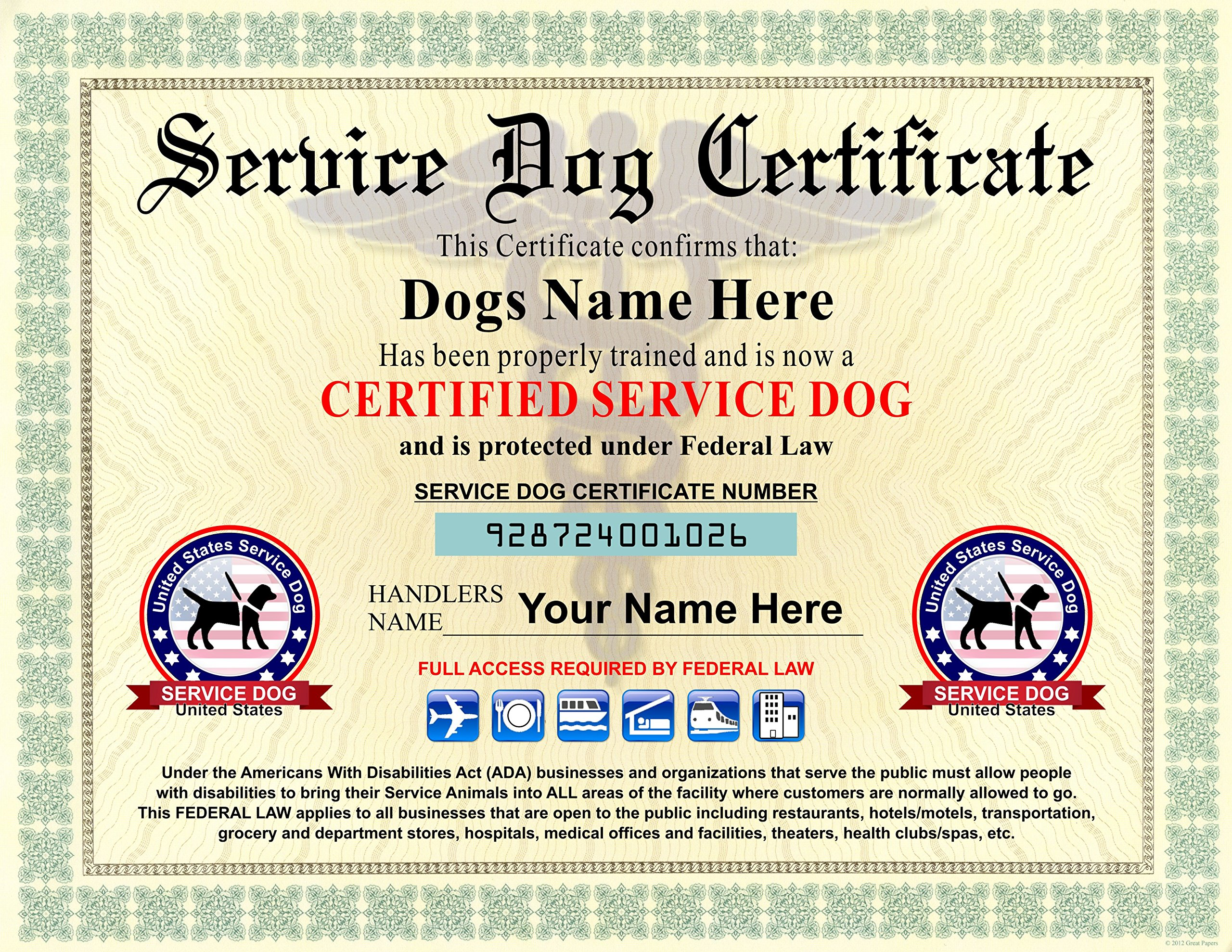 Service Dog Certificate - We customize it with Dogs and Handlers Name - 8.5 by 11 inches