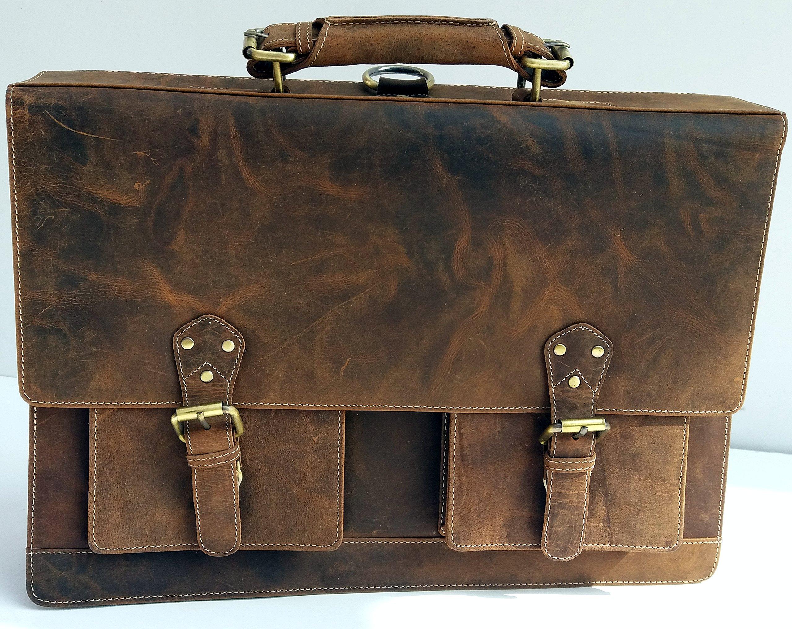 16 inch leather messenger briefcase shoulder laptop backpack bag for men and women by omansh by Omansh