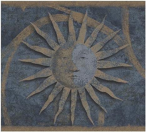 Vintage Dark Beige Faces On Sun Damask Scroll Dark Blue