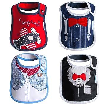 Amazon.com: Baby Cloth baberos impermeable 4 unidades Set de ...