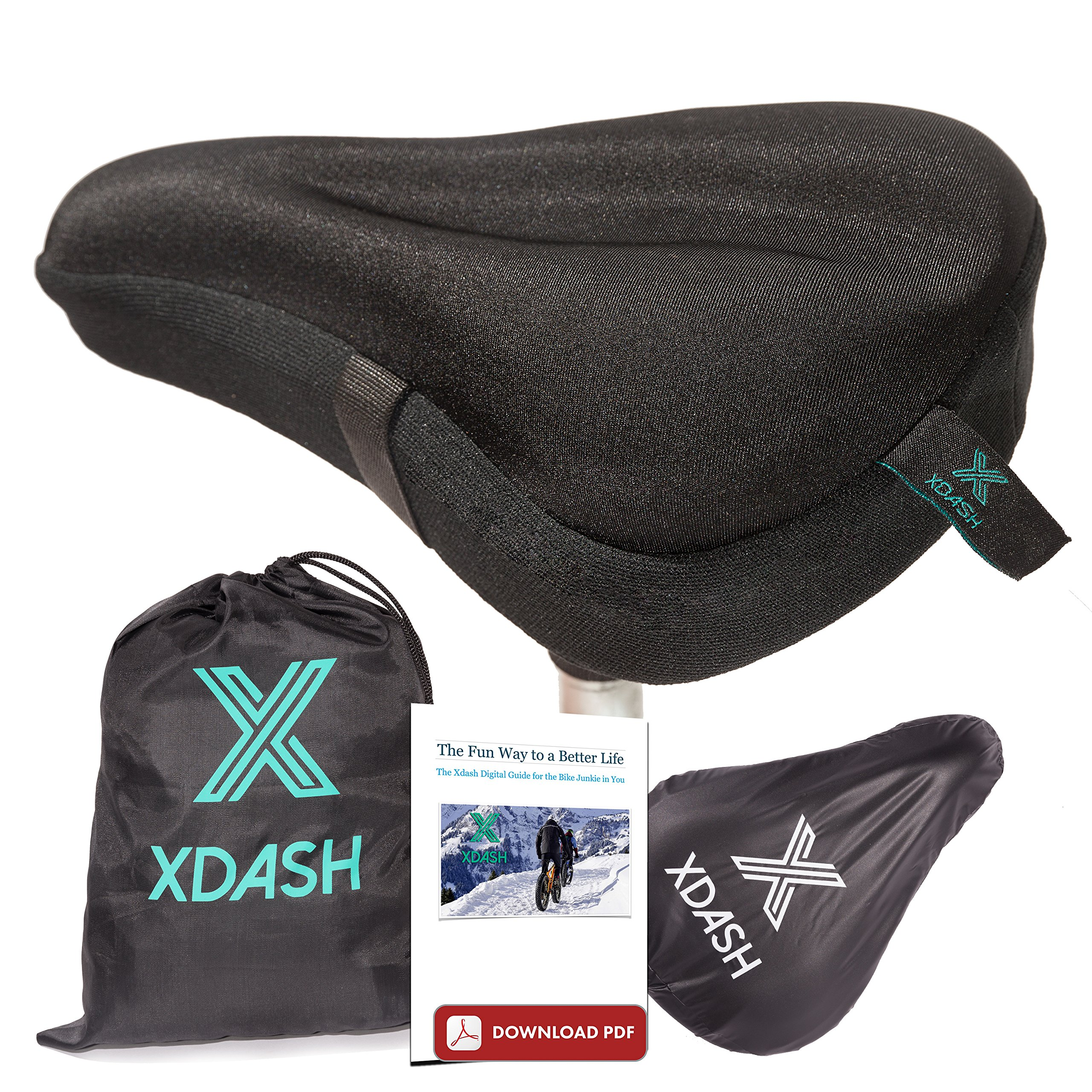 XDASH Premium Gel Bike Seat Cover- Bike Seat Cushion Cover-Padded Saddle Cover for Indoors and Outdoors Cycling-Road or Stationary Bicycle Seat Cover +E Book Healthy Life Style Tips